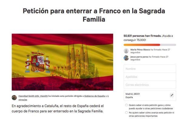Más de 50.900 piden enterrar a Franco en la Sagrada Familia de