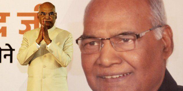 El nuevo presidente indio, Ram Nath Kovind, celebra su victoria en las