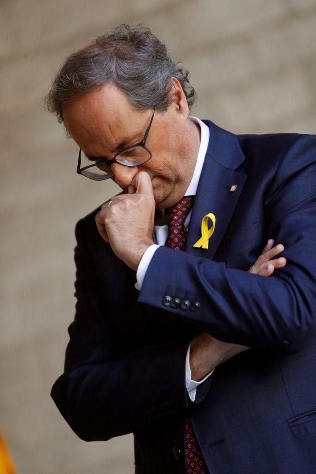 GRAF277. BARCELONA, 05/10/2018.- El presidente de la Generalitat, Quim Torra (JxCAT), durante la comparecencia...