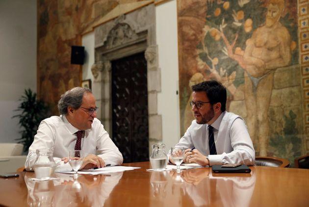 GRAF192. BARCELONA, 05/10/2018.- El presidente de la Generalitat, Quim Torra (JxCAT), y su vicepresidente,...