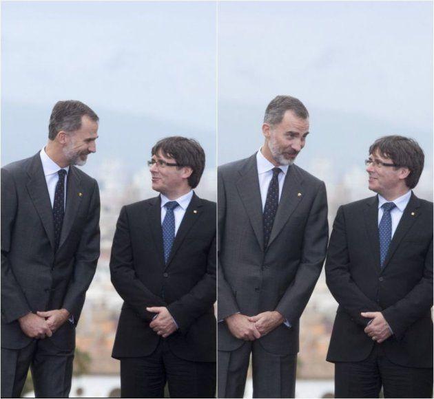 El rey Felipe y Carles Puigdemont, departiendo animadamente en el