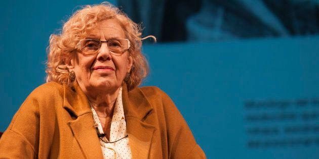 La alcaldesa de Madrid, Manuela Carmena, en el Teatro Español de