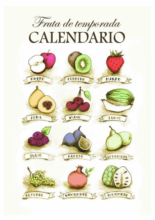 Calendario de fruta de temporada, ilustrado por Alejandra Zúñiga para el libro 'Los tomates de verdad...