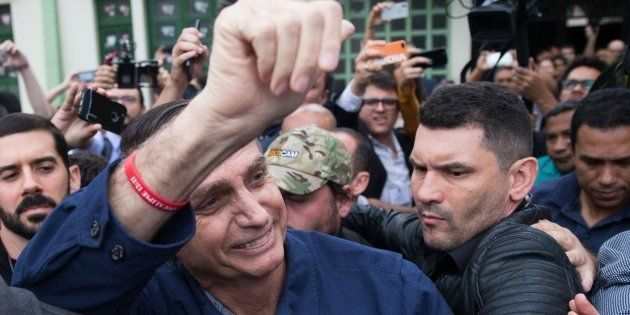 El candidato de la ultraderecha brasileña, Jair Bolsonaro, después de