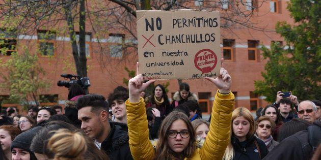 Una protesta en el campus de Vicálvaro de la Universidad Rey Juan