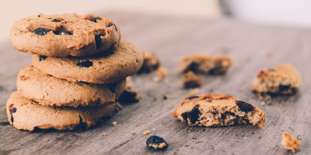 Chocolate chip cookies on old wooden