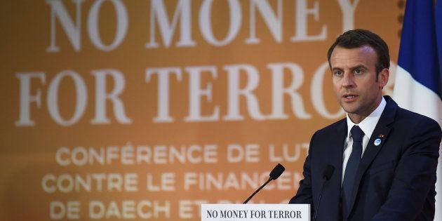 Emmanuel Macron, el presidente de Francia, durante su discurso de hoy en