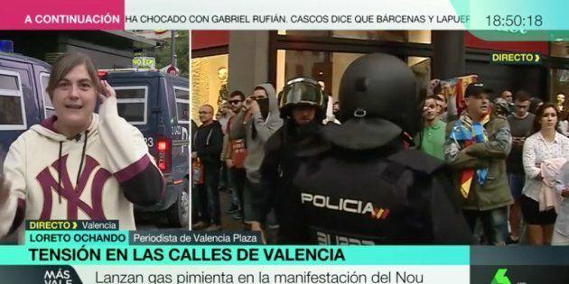 Una periodista, agredida en Valencia por la extrema derecha con gas