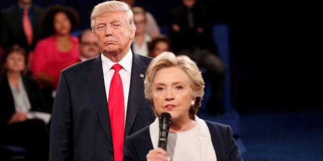 Imagen de archivo de Donald Trump y Hillary Clinton durante la campaña electoral de