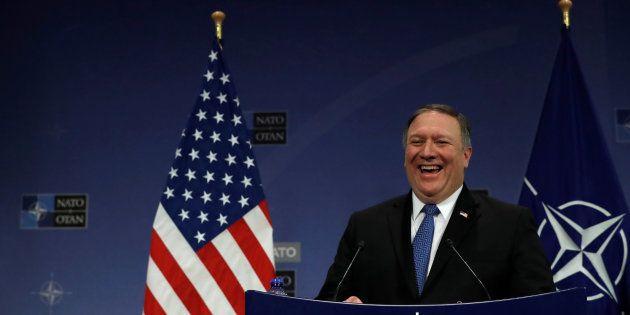 Mike Pompeo, nuevo secretario de Estado norteamericano, hoy en la sede de la OTAN en
