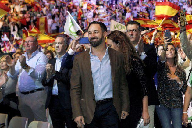 El presidente de Vox, Santiago Abascal, durante el acto de su formación en