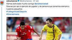 El Numancia pide perdón a Iniesta por lo que todos han visto en este tuit de