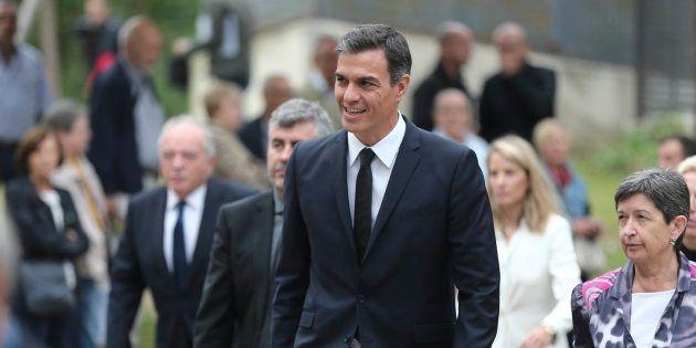 El presidente Pedro Sánchez durante el entierro de Monserrat Caballé en Barcelona.