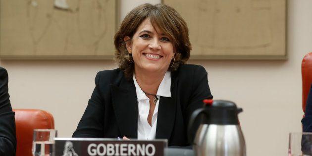 La ministra de Justicia, Dolores Delgado, comparece en la comisión de Justicia del Congreso de los Diputados...