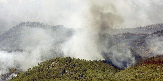 Vista del incendio de Yeste