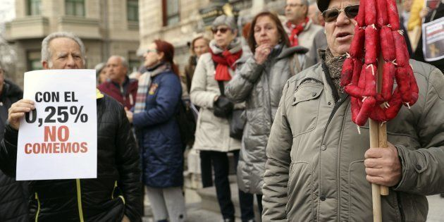 Manifestación de pensionistas en Bilbao, en febrero. EFE/Luis