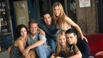 FRIENDS -- Pictured: (clockwise from left) Courteney Cox Arquette as Monica Geller, Matthew Perry as Chandler Bing, David Schwimmer as Ross Geller, Jennifer Aniston as Rachel Green, Matt LeBlanc as Joey Tribbiani, Lisa Kudrow as Phoebe Buffay  (Photo by NBC/NBCU Photo Bank via Getty Images)