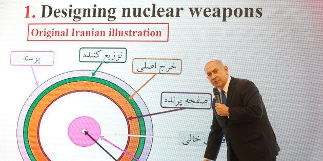 El primer ministro de Israel, Benjamín Netanyahu, durante su conferencia de prensa de hoy en Tel