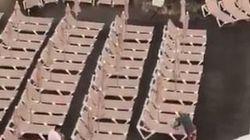 El vídeo que muestra la histeria colectiva por coger una tumbona en primera