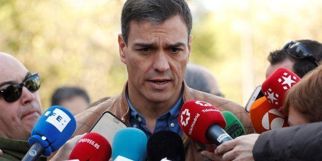 El secretario general del PSOE, Pedro Sánchez, atiende a los medios antes del inicio de la manifestación...