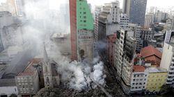 Espectacular derrumbe de un edificio de 24 pisos en Sao Paulo tras un