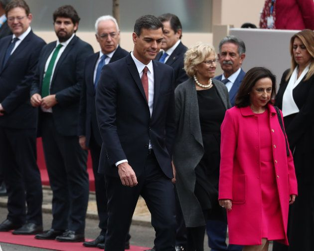 Spain's Prime Minister Pedro Sanchez arrives to attend a parade as part of celebrations to mark Spain's...