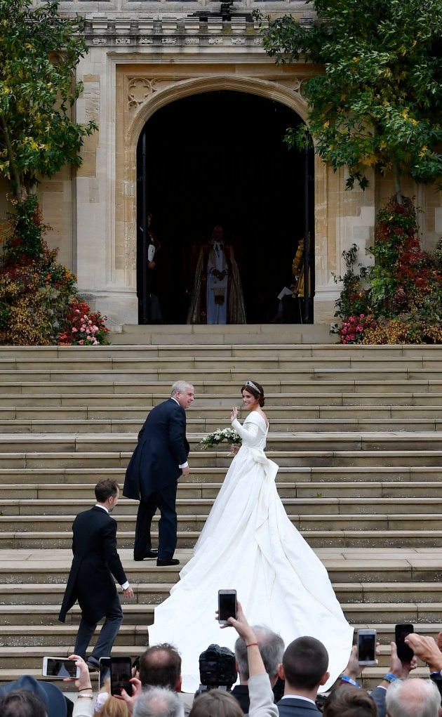 Princess Eugenie arrives, accompanied by Prince Andrew, for her wedding to Jack Brooksbank in St George's...