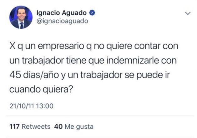 Ignacio Aguado borra un tuit de 2011 sobre los trabajadores tras el aluvión de críticas