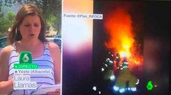 La reportera de LaSexta que cubre el incendio de Yeste arrasa en las redes con su
