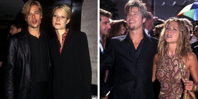 Brad Pitt, a la izquierda con su exnovia Gwyneth Paltrow y a la derecha con su exmujer Jennifer Aniston,...