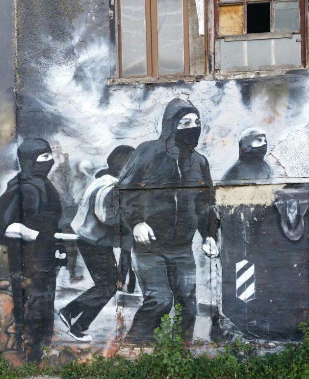Pintada en la frontera de Rentería con el vecino municipio de