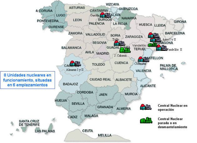 Mapa de las centrales nucleares en