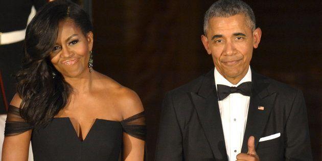 Michelle y Barack Obama en una cena de gala con el presidente Xi Jinping y su esposa Peng Liyuan en Washington,...