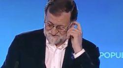 La cara de Rajoy tras este pequeño lapsus durante un