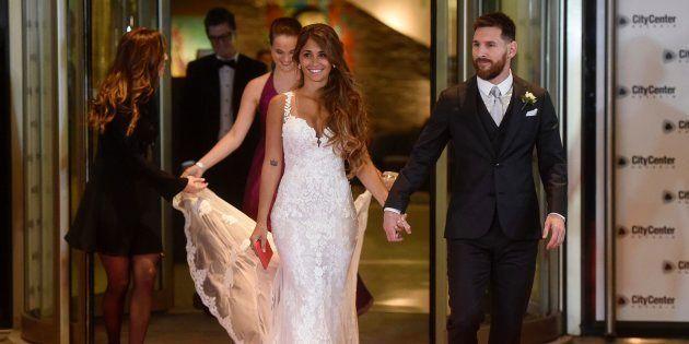 Leo Messi y su esposa, Antonela Roccuzzo, en la fiesta posterior a su