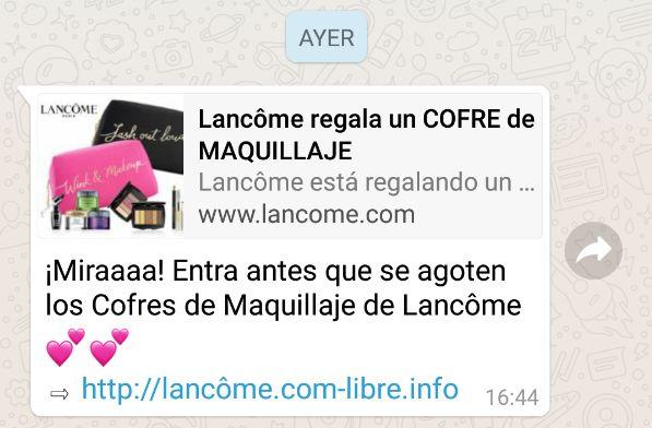 Advierten de una falsa campaña viral de Lancôme en la que regala cofres de maquillaje por
