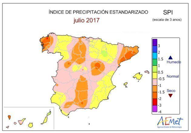 Mapa de vigilancia de la sequía meteorológica en España de los tres últimos