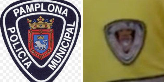 Logo de la policía navarra e imagen del uniforme que aparece en