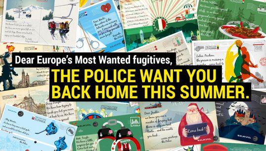 Europol envía postales veraniegas a los criminales más buscados para que vuelvan a sus