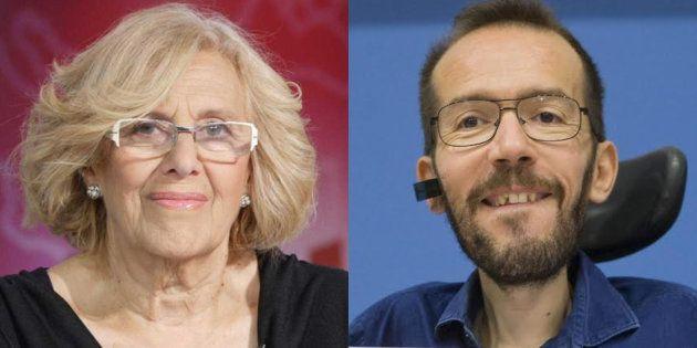 Manuela Carmena y Pablo Echenique, en sendas imágenes de