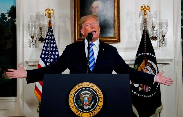 El presidente de EEUU, Donald Trump, durante su alocución de
