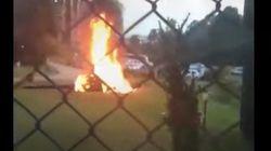 Vídeo | Una novia llega a su boda en helicóptero, se estrella y explota, pero logra
