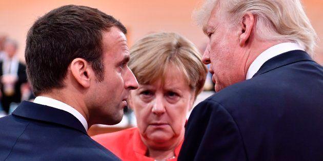 Donald Trump, Emmanuel Macron y Angela Merkel, en la reunión del G20 en Hamburgo del pasado