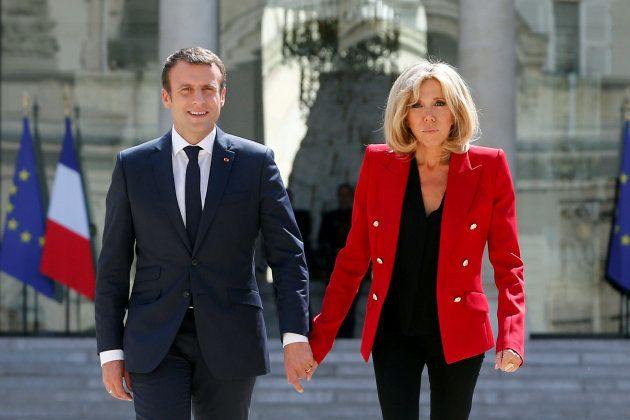 Emmanuel y Brigitte Macron, juntos en el Elíseo, antes de un encuentro sobre el