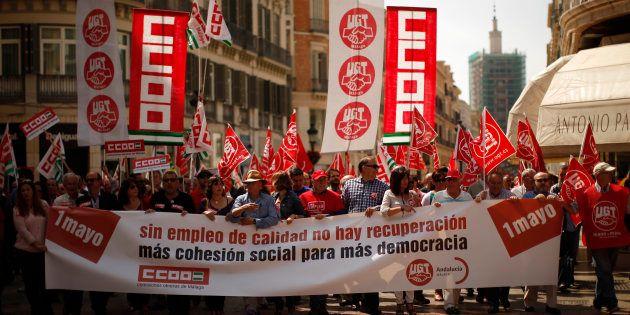 Manifestación de los sindicatos UGT y CCOO en Málaga el primero de mayo de