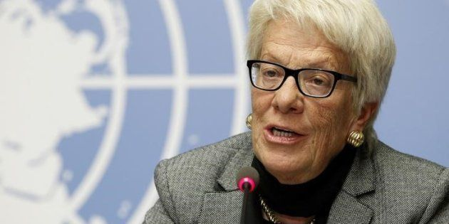 Carla del Ponte, durante una rueda de prensa en Ginebra (Suiza), en febrero de
