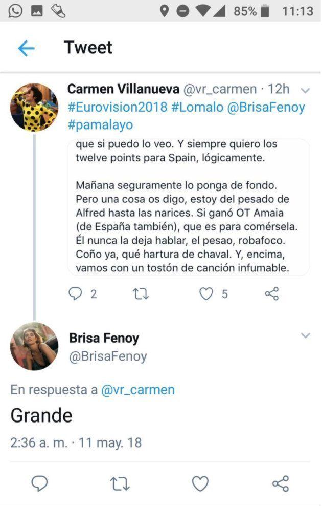 Brisa Fenoy, autora de 'Lo Malo', apoya un tuit contra Alfred y luego se