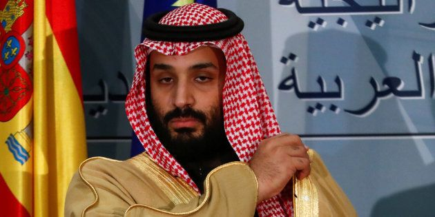 El príncipe saudí Mohammed bin Salman, durante una recepción en La Moncloa en abril de 2018, cuando visitó