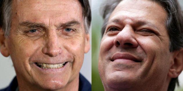 El ultraderechista Jair Bolsonaro y el izquierdista Fernando Haddad, en sendas imágenes de