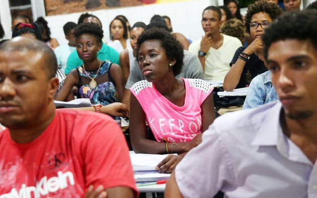 SALVADOR, BRAZIL - APRIL 16: Students from the Steve Biko Institute gather during a lecture on April...